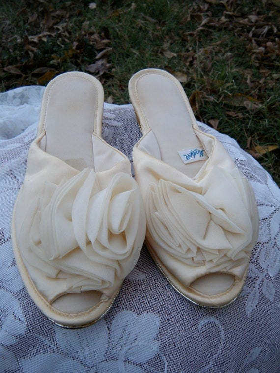 Vintage Bedroom Slippers Creamy Yellow Satin By