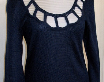 Top Tunic Sweater Clothing Blue Black with Lace knitted Acrylic Wool