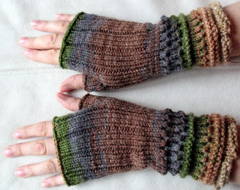 Fingerless Gloves Brown Beige Gray Green wrist warmers