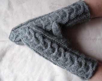 Long Mittens Arm Warmers Gray Dove knit, Soft Acrylic Mohair