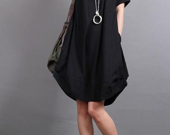 Summer dress/ cotton pleated Short sleeve dress with decorative buttons/ simple black lantern dress/ beige Light Green