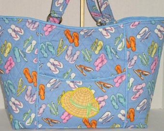Fabric Handbag/ Tote Bag - Large A Day at the Beach Flip Flop Quilted Convertible Tote Bag