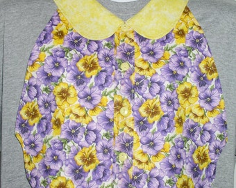 Womens Adult Bib / Special Needs Purple and Yellow Pansies Shirt Front Bib