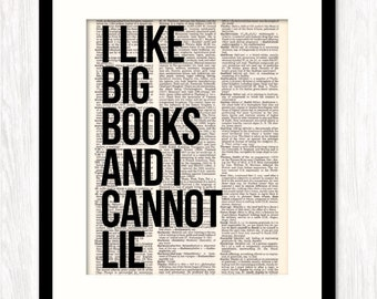 I Like BIG BOOKS and I Cannot Lie funny quote art dictionary art print typography mixed media altered book page print