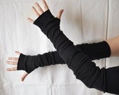 Extra Long Black Arm Warmers Gloves Mittens Fingerless Creased Upcycled Clothing Funky Wrapped Wrists Cuffs Eco Style Woman's Clothing