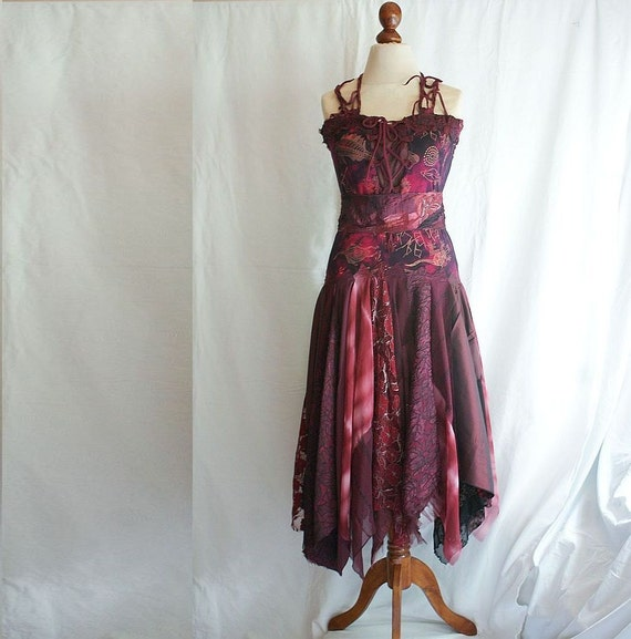 Romantic Tattered Dress in Shades of Wine Upcycled Woman's Clothing Funky Style Shabby Chic Eco Friendly Style Upcycled Clothig