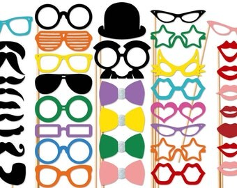 Photo Booth Props 40 Piece Party Set - Photobooth Props - Wedding Photo Prop