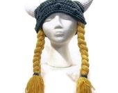 Womens Viking Helmet with Yellow Braids - Hat - Women's - Newborn to Adult - Costume - Made to Order