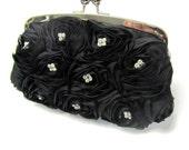Wedding clutch, Unique & Glamour Victorian Swarovski crystal clutch , Black evening bag, purse..