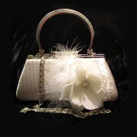 Bridal clutch, crystal clutch, vintage inspired clutch, bridal evening bag, white bag, bridesmaid clutch