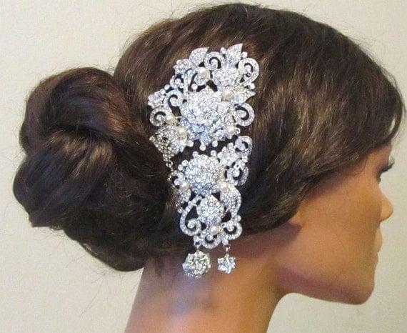 Wedding hair accessory, Bridal headpiece,Vintage Bridal pearl rhinestone Hair Comb, Bridal swarovski comb