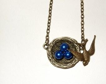 Birds Nest Necklace, Blue Glass Pearls, Swallow Pendant, Nest Eggs, Bronze Birds Nest, Swallow Necklace, Quirky Jewelry, Nesting Bird Charm