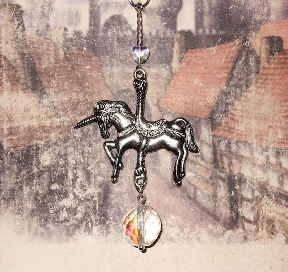 Carousel Horse Necklace, Merry Go Round, Fairground Jewelry, Carousel Unicorn, Large Unicorn Charm, Silver Unicorn Pendant, Unicorn Jewelry
