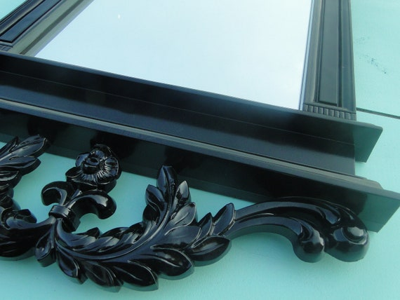 """Large Vintage Ornate Mirror in Black Gothic Hollywood Regency Paris Apartment French Country Halloween Decor  King Queen """"Gate Keeper"""""""