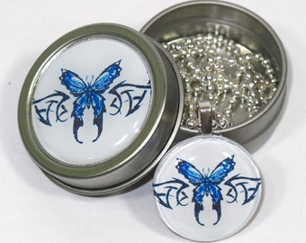 Blue Tribal Butterfly necklace with matching gift tin
