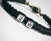 Personalized Bracelet Initials Black Hemp Men, Women, Unisex Hemp Bracelets, Initial Jewelry