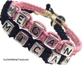 Couples Braclets with Names, Pink and Black Hemp Set of 2 MADE TO ORDER-1 Week production time