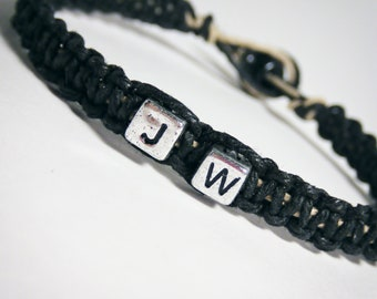 ONE DAY SALE Husband Gift, Letter Bracelet, Mens Bracelet, Hemp Bracelet, Gift for him, Personalized Jewelry, Macrame Bracelet, Black Hemp,
