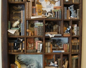 """miniLibrary miniature thematic  """" invasion of cats"""""""