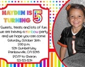 Rainbow Birthday Invitation with Photo Print Your Own 5x7 or 4x6