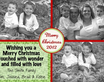 Christmas Card with 3 Photos Print Your Own 5x7 or 4x6