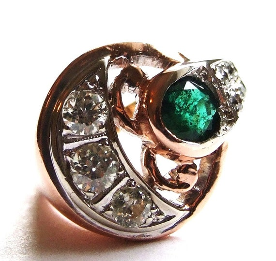 Rose Gold Retro emerald diamond cocktail  ring Sale 200 off  Antique estate 40s 50sArt  Deco Appraisal 2796 May birthstone  gatsby downton a