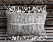 "Real Pure White- Light beige Wool Lumbar pillow cover with fringe, fits12""x20"" insert. - svetastyle"