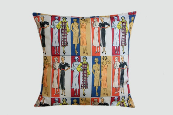 "Cotton Retro multicolored Throw pillow case, Designer fabric, fits18""x18"" insert, Toss pillow case, Cushion case."