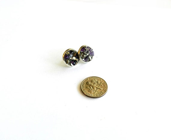 "Purple Amethyst Stud Earrings - Pyrite ""Fool's Gold"" Raw Crystal, Sparkly, Glitter, Silver, Mineral Rock Winter Fashion"