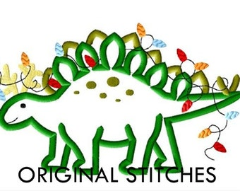 Reindeer Stegosaurus Christmas Applique and Embroidery Digital Design File  5x7 6x10