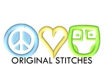 Peace Heart Cloth Diaper Applique and Machine Embroidery Digital Design File 4x4 5x7 6x10