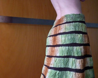 Green wrap skirt, nuno felted, natural designer clothing, eco friendly clothing, funky women's clothing, urban hippie
