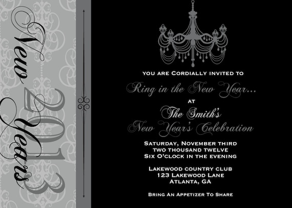 PRINTABLE Chandelier New Year's Eve Party Invitation- Printable party invitation by Luv Bug Design