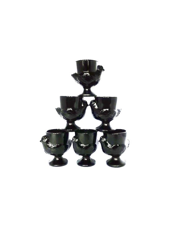 French egg cups - six glass chicken egg cups in black