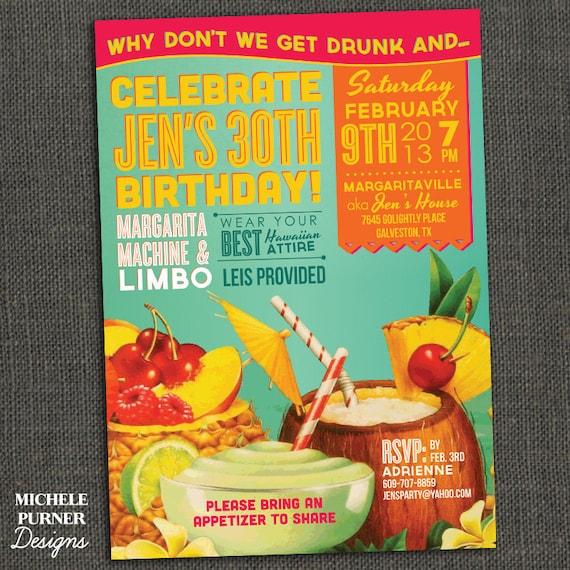 Items similar to Tropical Birthday Invitation Jimmy Buffett – Jimmy Buffett Party Invitations