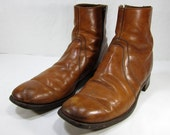 Vintage 1970's Tan Leather Zippered Ankle Boot Men's Size 12 A