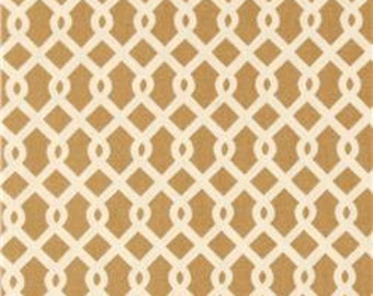 "Two  96"" x 50""  Custom  Curtain Panels - Rod Pocket Panels -   Waverly Lattice  Khaki"