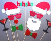 Holiday Photo Booth Props - 11 piece set - GLITTER Photobooth Props - Party Rockin' Santa and Mrs. Claus