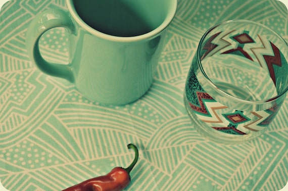 Mint Mug and Tribal Native American Pattern Drinking Glass Set of Four - Perfect For Your Retro Household