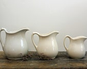 White Ironstone Pitchers / Instant Collection of Three