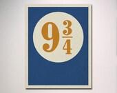 Platform 9 3/4 with Distressed Effect Poster Print / Harry Potter Poster / Simple Digital Design
