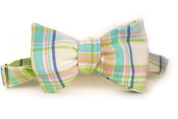 Pastel Plaid Men's Bow Tie // H o l i d a y  S a l e