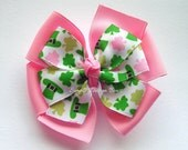 "St Patricks Day Hair Bow - Pink and Green Shamrocks - 4"" or 5"" Large Double Layer Pinwheel"