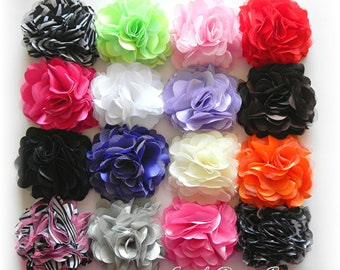 "Hair Flowers - Flower Hair Clip - You Pick ONE - 3"" OLIVIA FLOWER - Satin & Mesh Hair Flower - Hair Clip or Brooch - 25 Colors"