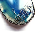 Silver big pendant with Agate, natural slice of stone, blue navy turqouise, note music treble clef unique fashion gift
