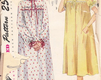 1950 Printed Sewing Pattern Simplicity 3388 Misses nightgown and bed jacket size 18 bust 36