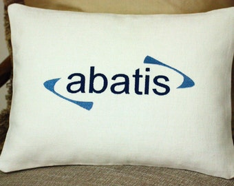 Custom embroidered pillow cover with personalised corporate name