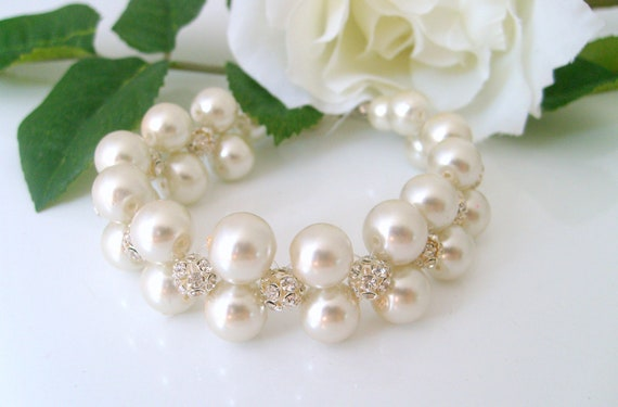 Bridal bracelet-Vintage inspired bridal pearl bracelet with pearls and swarovski crystal balls wedding jewelry bridal bracelet