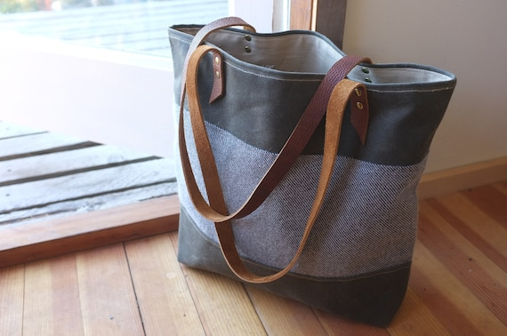 Waxed Canvas Tote - Limited Edition - Wool - Forest Green - Weather Resistant