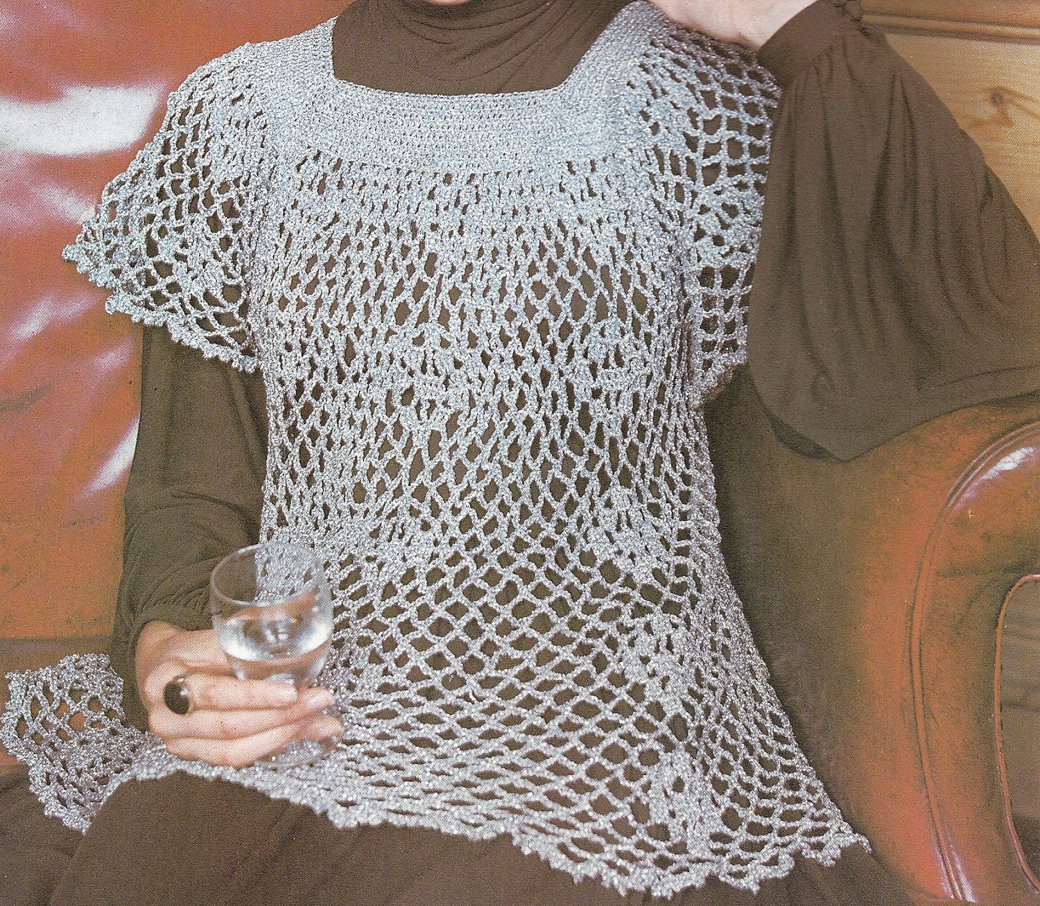 Crochet Patterns Ladies : Vintage Crochet Pattern Ladies Smock Top Pattern Crochet